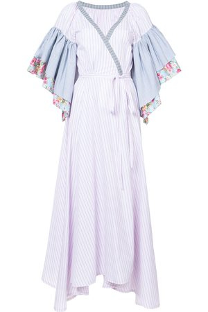 Natasha Zinko Floral striped ruffle sleeve wrap dress