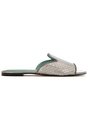 Blue Bird Patent leather woven mules