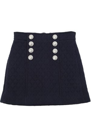 Balmain QUILTED COTTON SWEAT SKIRT