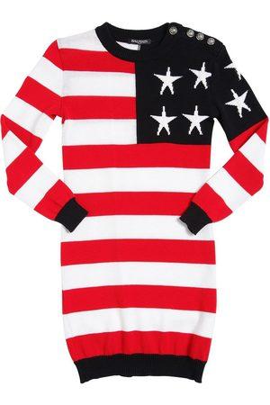 Balmain AMERICAN FLAG COTTON SWEATER DRESS