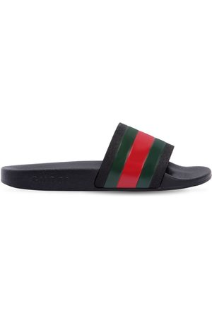 Gucci WEB PRINT RUBBER SLIDE SANDALS
