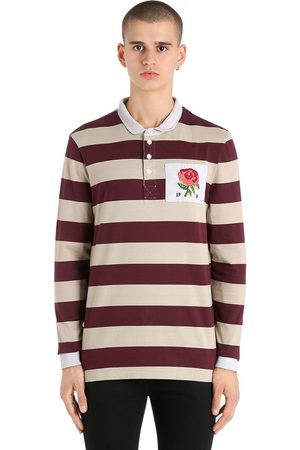 KENT & CURWEN ROSE PATCH STRIPED RUGBY COTTON POLO