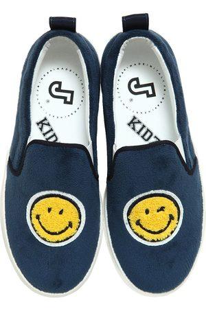 Playful Promises SMILE VELVET & LEATHER SLIP-ON SNEAKERS