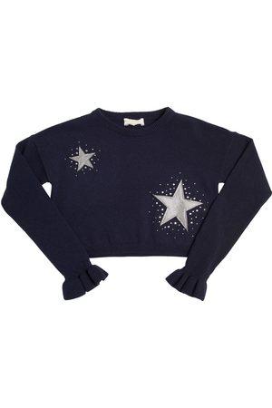 MONNALISA STARS EMBELLISHED CROPPED WOOL SWEATER