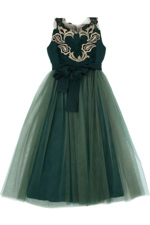 RHEA COSTA Tulle & Crepe De Chine Party Dress