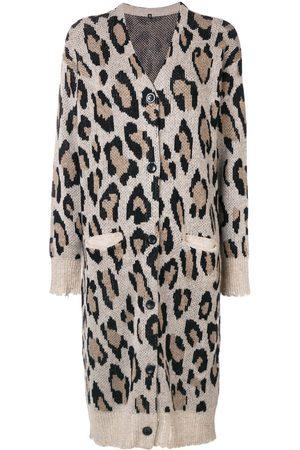 R13 Cashmere long leopard cardigan