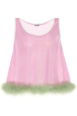 Miu Miu Feather-trimmed jersey top
