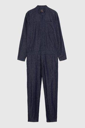 Zara STAND-UP COLLAR DENIM JUMPSUIT