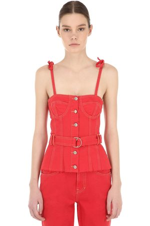 SJYP Belted Cotton Denim Corset Top