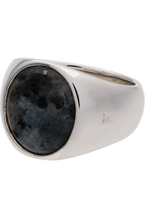 TOM WOOD Sterling and opal Oval Larvikite ring