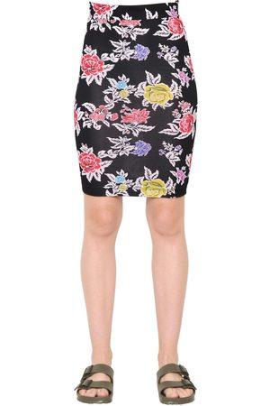 House of Holland Dames Geprinte rokken - Rose Printed Viscose Jersey Pencil Skirt