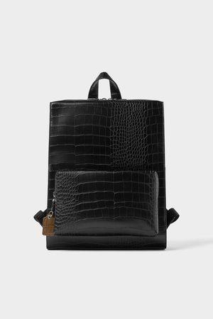 Zara Zwarte rugzak in reptielenlook