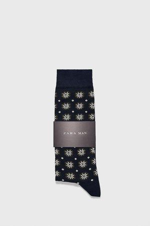 Zara Gemerceriseerde sokken met bloemen- en stippenprint