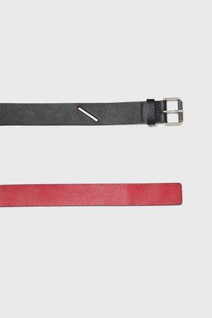Zara Heren Riemen - Two-tone leather belt