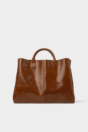 Zara Elegante bruine leren shopper