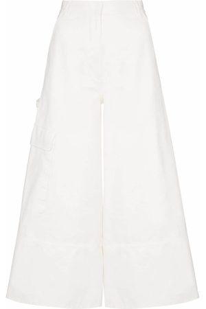 Moncler Wide leg cropped utility pocket denim trousers