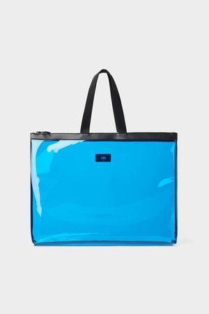 Zara Blauwe vinyl shopper