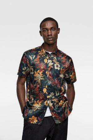 Zara Satijnen overhemd met bloemenprint
