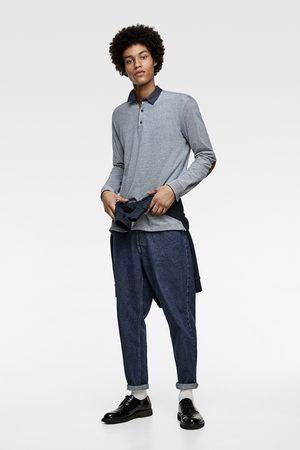 Zara Gestructureerde oxford-polo met elleboogstukken