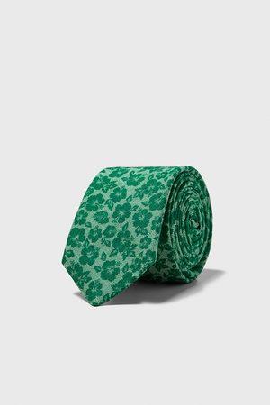 Zara Smalle stropdas met bloemenprint