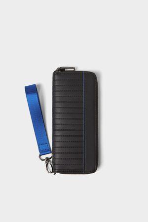 Zara Zwarte xl portefeuille met blauwe details