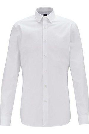 HUGO BOSS Slim-fit overhemd van Italiaanse katoenen popeline