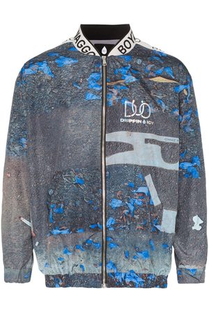 DUO Logo band print bomber jacket