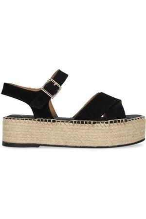 Sacha Dames Sandalen - Zwarte sandalen met plateau zool