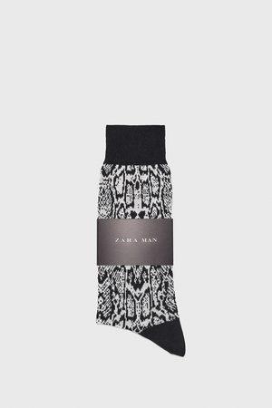 Zara Gemerceriseerde sokken met jacquard slangenprint