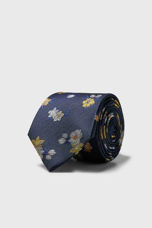 Zara Brede stropdas met bloemen