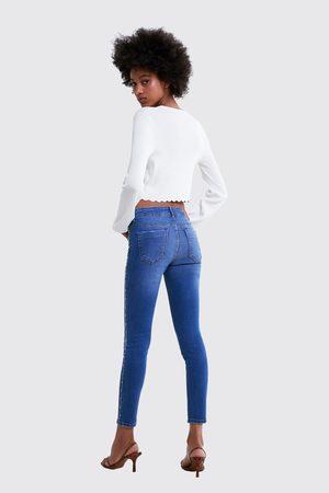 Zara Skinny jeans z1975 met streep met kralen opzij