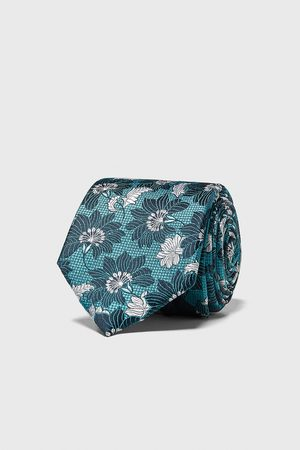Zara Brede jacquard stropdas met bloemenprint