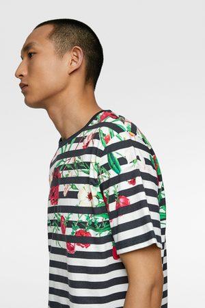 Zara T-shirt met bloemenprint en strepen