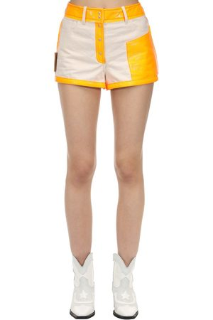 Courrèges Contrasting Cotton & Vinyl Shorts