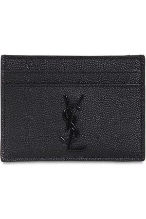 Saint Laurent Logo Leather Grain Card Holder