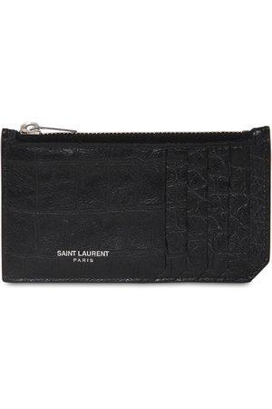 Saint Laurent Leather Zip Card Holder