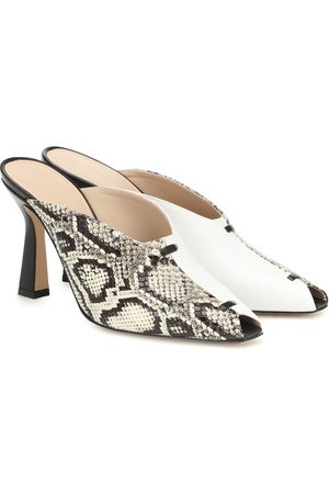Wandler Dames Clogs - Niva snake-effect leather mules