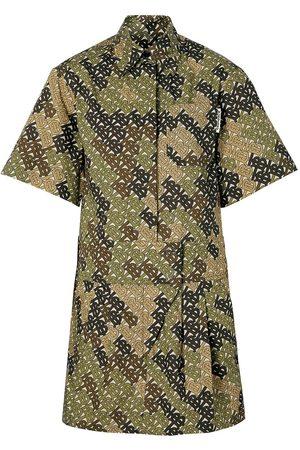 Burberry Short-sleeve Monogram Print Shirt Dress