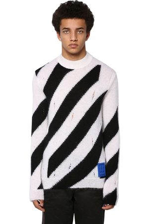 OFF WHITE Destroyed Diag Mohair Blend Knit Sweater