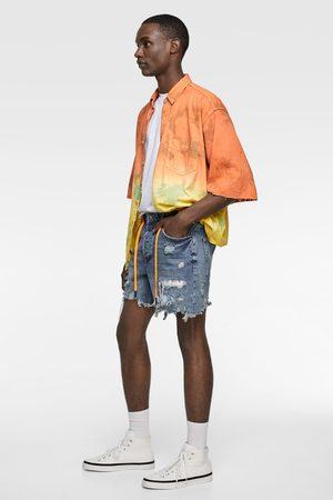 Zara Tie dye denim bermuda met patches