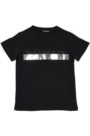 Balmain Logo Print Cotton Jersey T-shirt