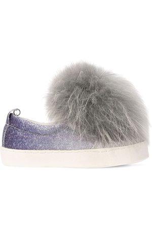 MONNALISA Glittered Faux Leather Slip-on Sneakers