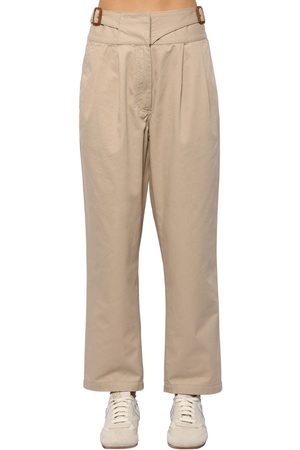 Loewe Dames Chino's - Chino Cotton Canvas Crop Pants