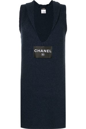 CHANEL Logo knitted fitted dress