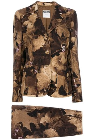 Moschino Leaf print skirt suit