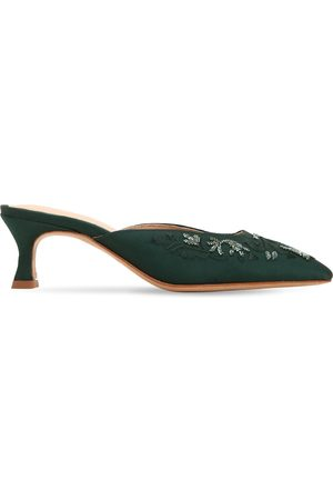 ZYNE Dames Clogs - 50mm Embellished Satin Mules