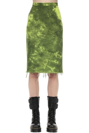 MARQUES'ALMEIDA Tie Dye Cotton Denim Pencil Skirt
