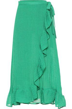 Lisa Marie Fernandez Ruffled linen-blend gauze wrap skirt