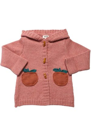 OEUF Baby Hooded Apple Baby Alpaca Knit Cardigan