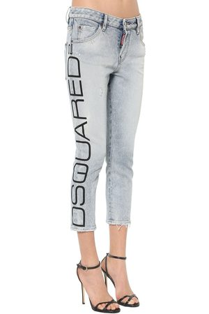 Dsquared2 Meisjes Jeans - Cropped Blue Acid Wash Cool Girl Jeans